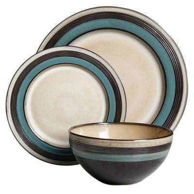 Everston 12-Piece Teal Dinnerware Set