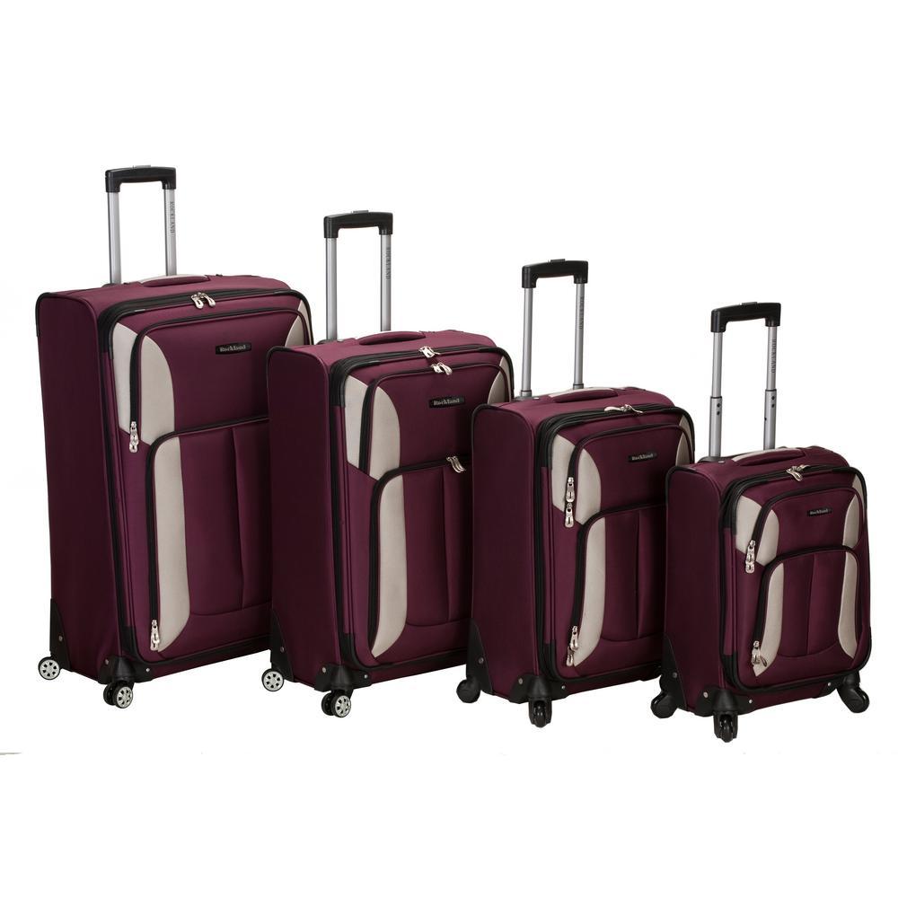 Rockland 4-Piece Impact Spinner Softside Luggage Set, Burgundy
