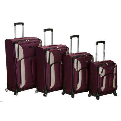 Rockland 4-Piece Impact Spinner Softside Luggage Set, Burgundy