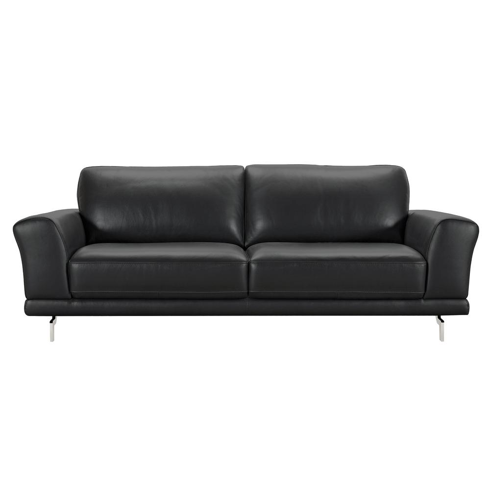 Black leather contemporary sofa excellent black leather for Contemporary leather furniture