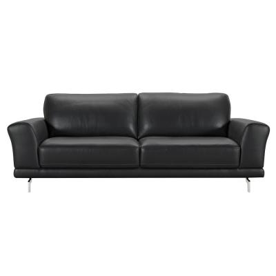 Armen Living Genuine Black Leather Contemporary Sofa with Brushed Stainless Steel Legs