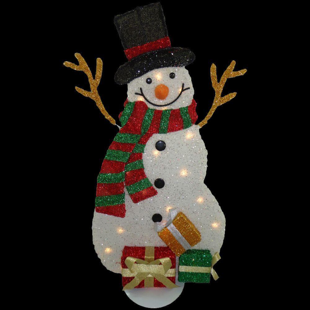 31 in. Pre-Lit Tinsel Snowman