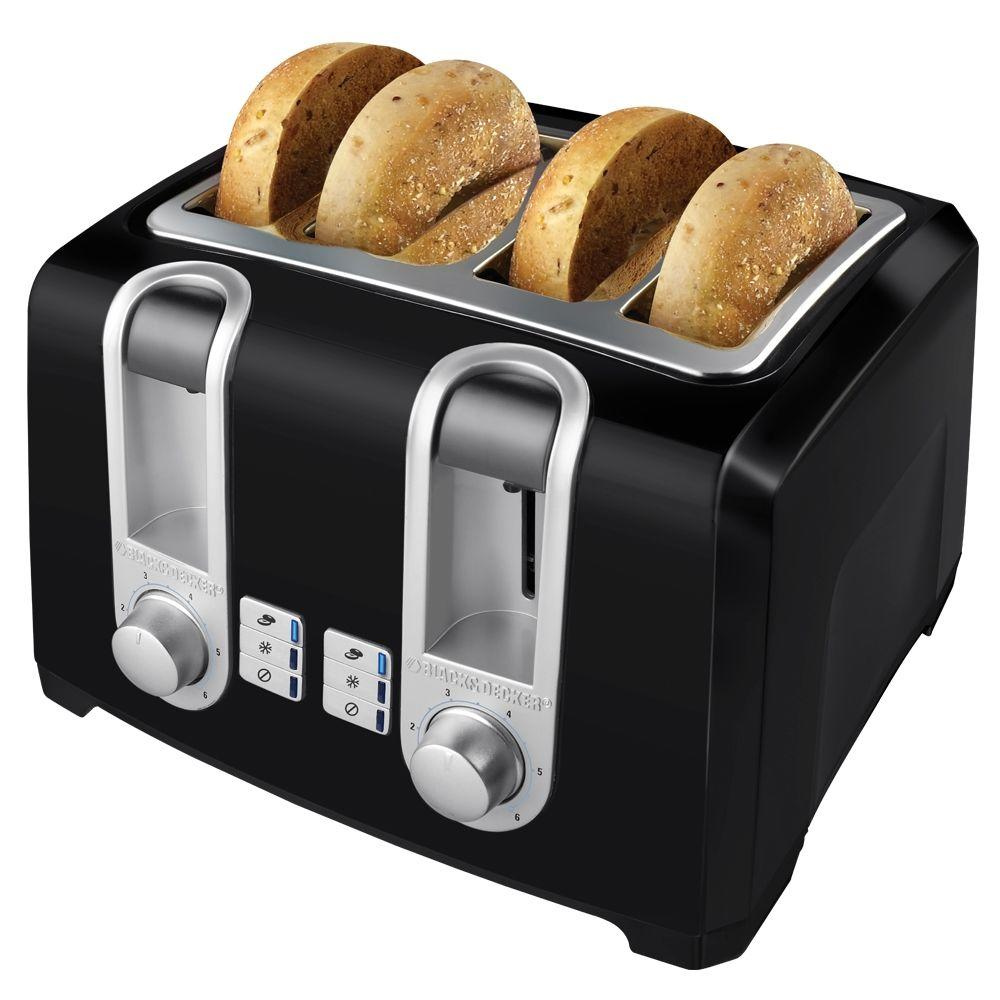4 Slice Toaster ~ Black decker slice toaster in t b the home depot