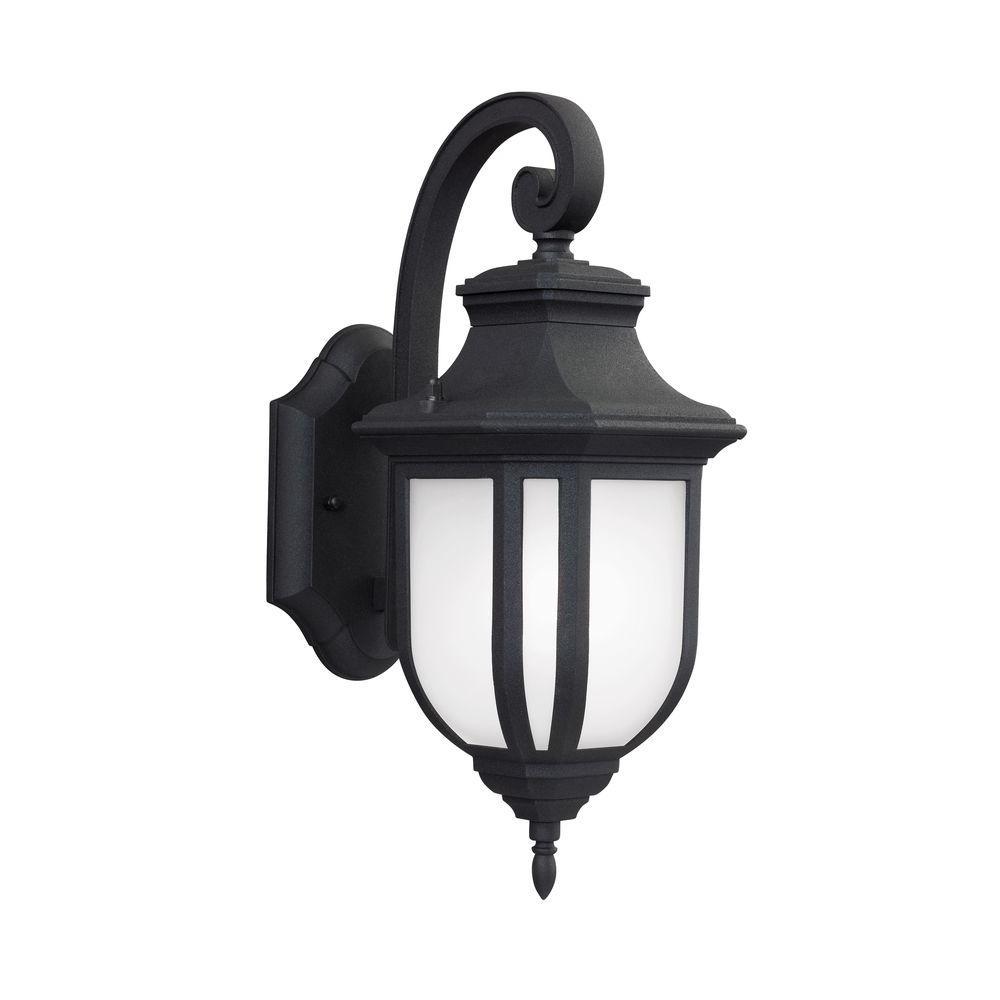 Childress 1-Light Black 14.625 in. Wall Lantern Sconce