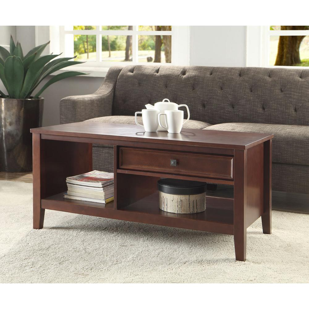 Exceptional Linon Home Decor Wander Cherry Built In Storage Coffee Table Great Pictures