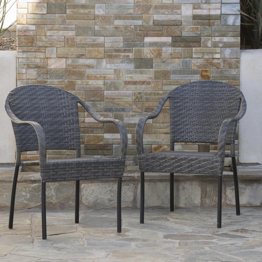 Noble House Sunset Grey Wicker Outdoor Dining Chair Set
