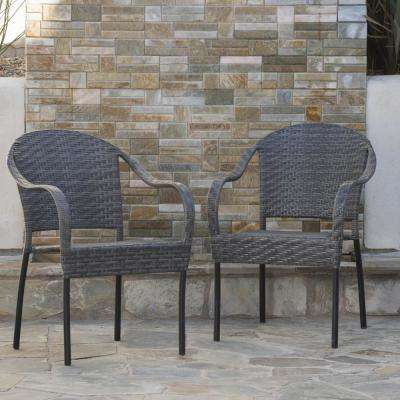 Sunset Grey  Wicker Outdoor Dining Chair (Set of 2)