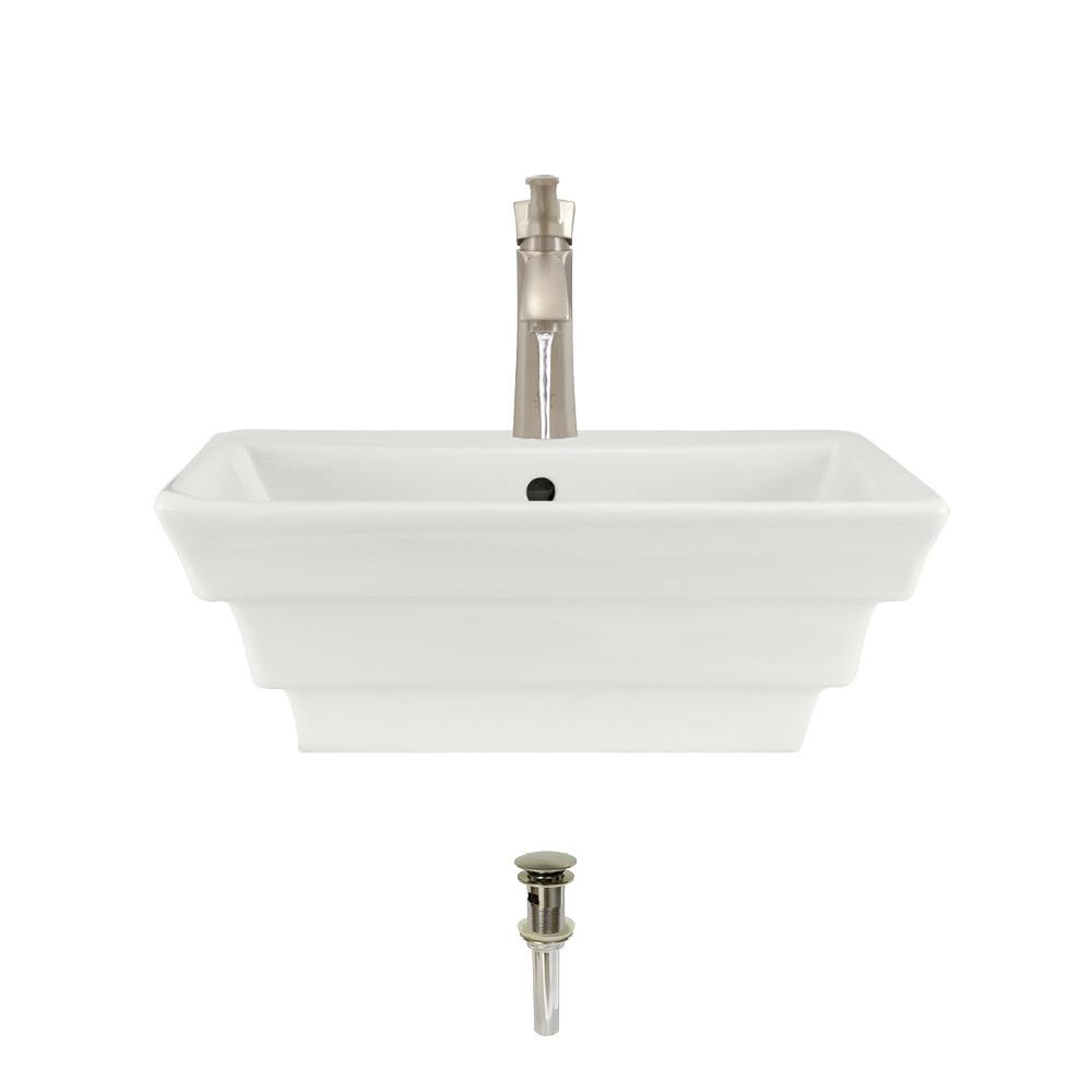 Porcelain Vessel Sink in Bisque with 725 Faucet and Pop-Up Drain