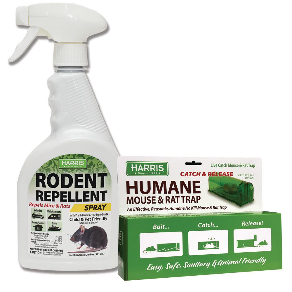 Harris Extra-Large Catch and Release Humane Rat and Mouse Trap with 20 oz. Rodent Repellent Spray Value Pack