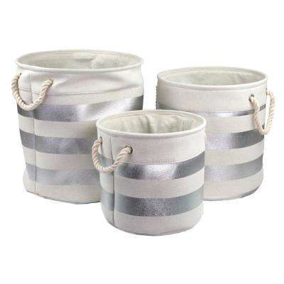 15.75 in. x 16.12 in. Silver Canvas Storage Bin (3-Pack)