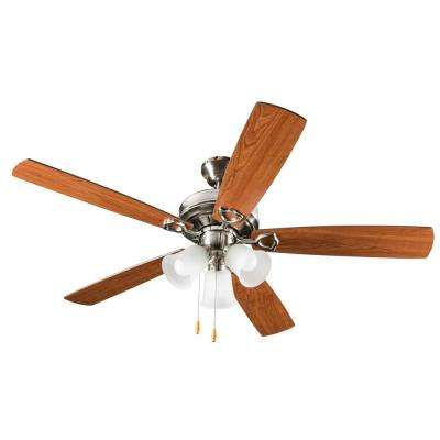 3-Light 42 in. Indoor Brushed Nickel Ceiling Fan With Light Kit