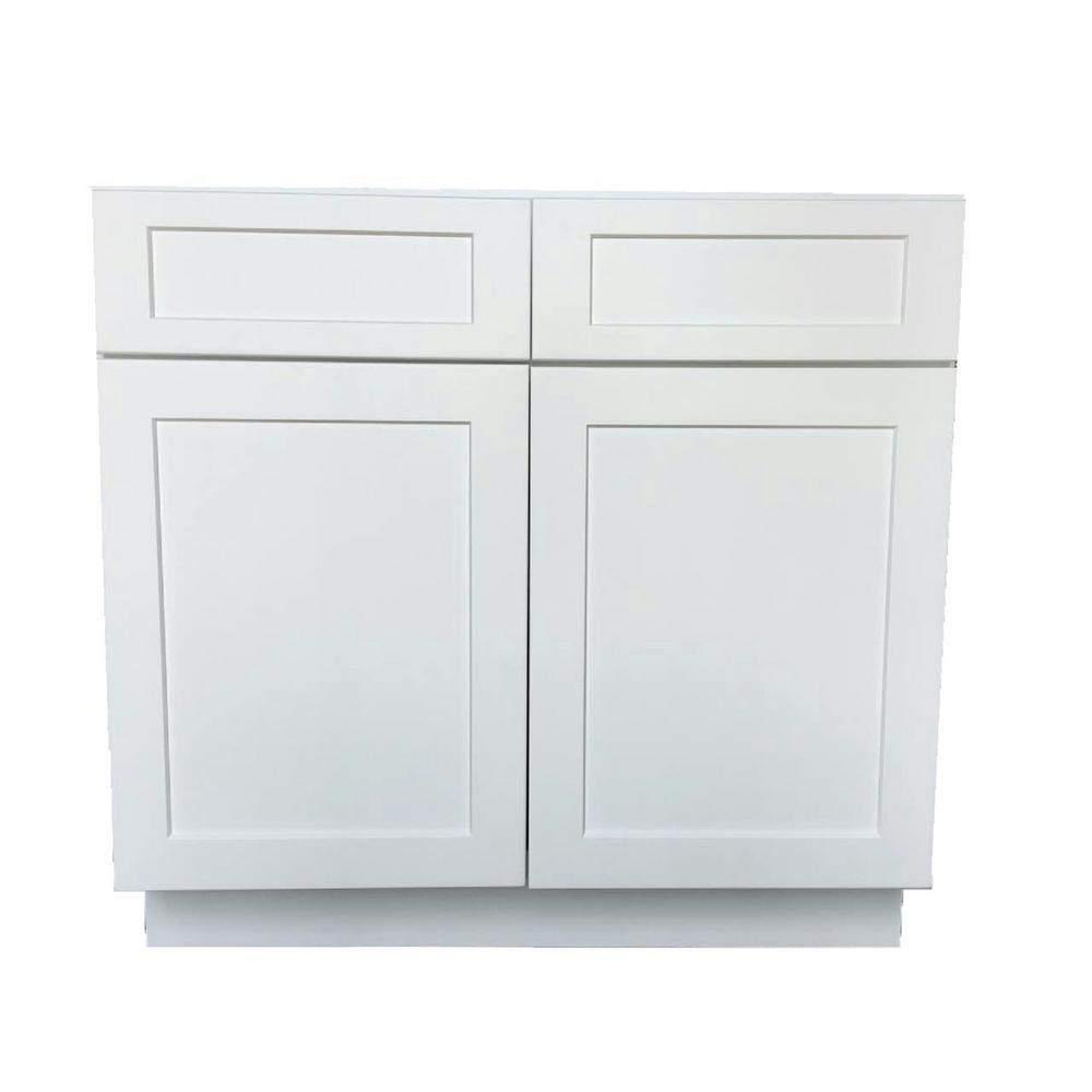 Captivating Bremen Shaker Ready To Assemble 33 X 34.5 X 24 In. Base Cabinet With 2