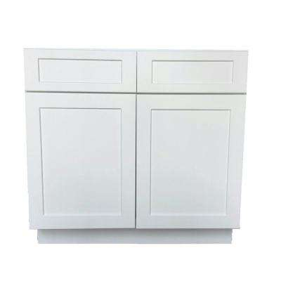 Bremen Shaker Ready to Assemble 36 x 34.5 x 24 in. Base Cabinet with 2-Drawer and 2-Door in White