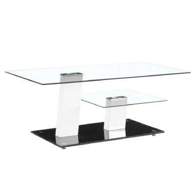 Contemporary White and Black Glass Coffee Table Design with High Glossy Base
