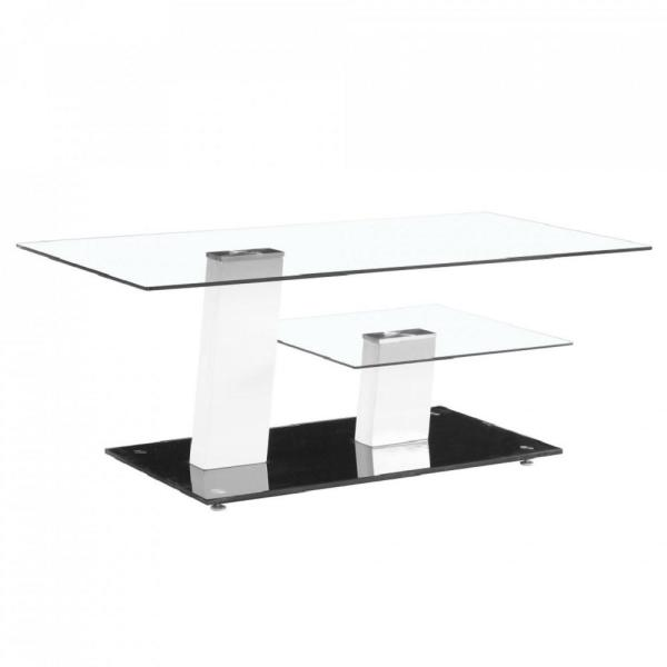 Fab Glass And Mirror Contemporary White And Black Glass Coffee