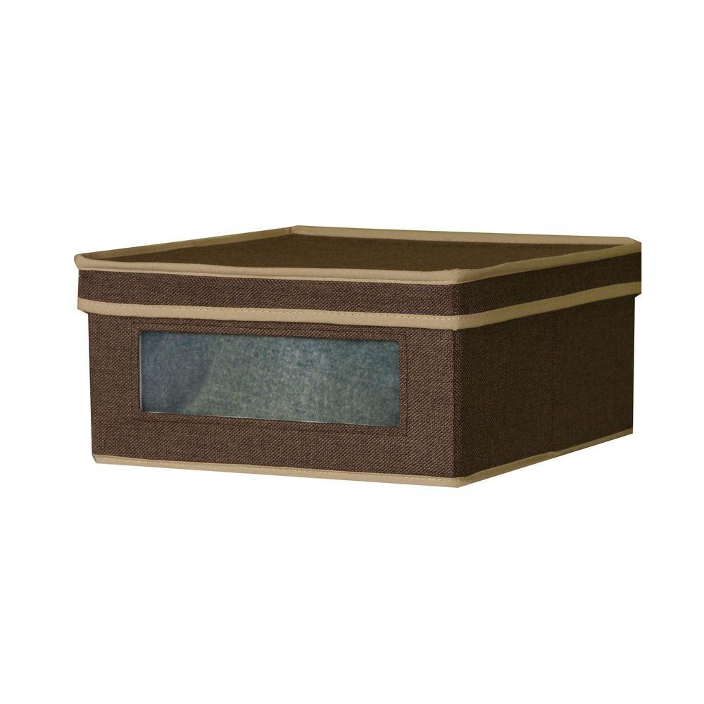 Household Essentials 12.25 in. x 5.5 in. Coffee Linen-Look Small Vision Storage Box