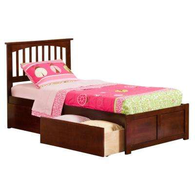Mission Walnut Twin XL Platform Bed with Flat Panel Foot Board and 2 Urban Bed Drawers