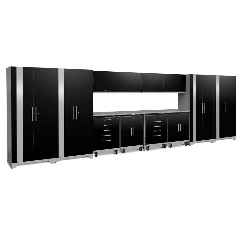 Performance Plus 2.0 85.25 in. H x 266 in. W x 24 in. D 18-Gauge Welded Steel Garage Cabinet Set in Black (14-Piece)