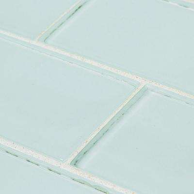 Morning Mist Blue 3 in. x 6 in. Glossy Glass Wall Tile (1 sq. ft./ pack)