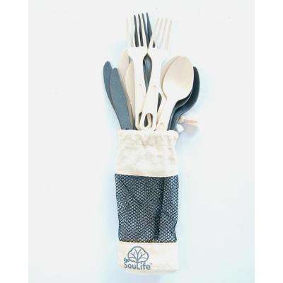 Bamboo 12-Piece White Swiss Alps Cutlery (2-Pack)