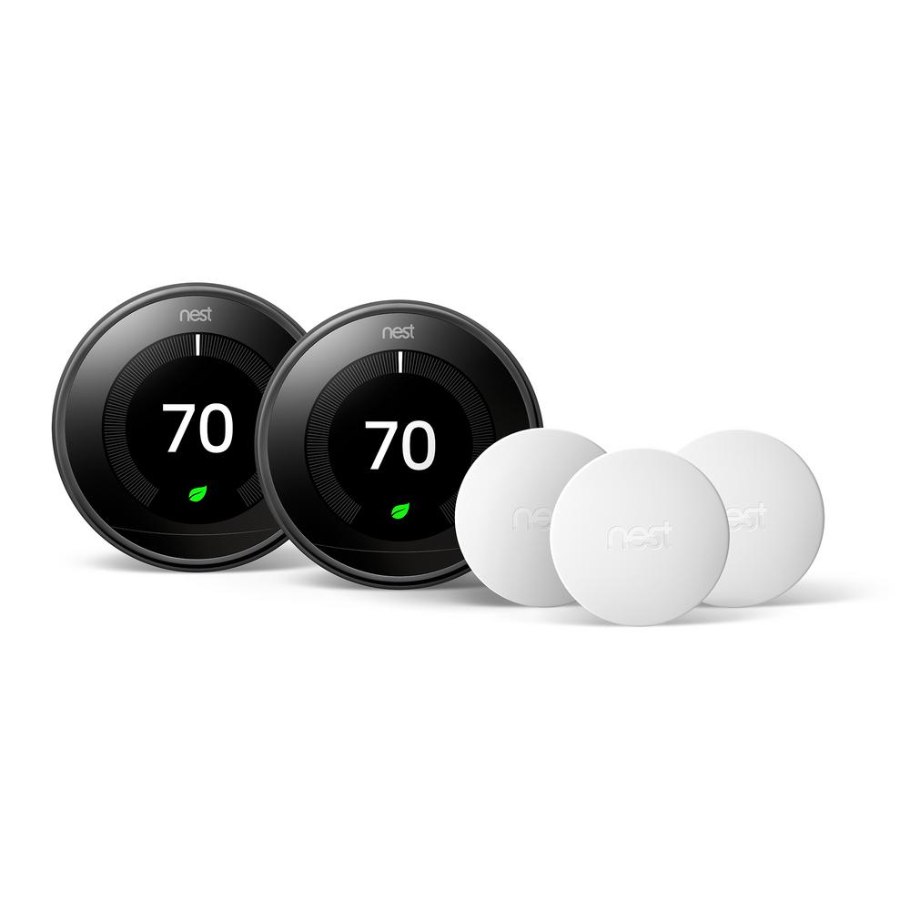 Google Nest Learning Thermostat 3rd Gen in Mirror Black (2-Pack) and Google Nest Temperature Sensor (3-Pack)