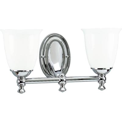 Victorian Collection 2-Light Chrome Bathroom Vanity Light with Glass Shades