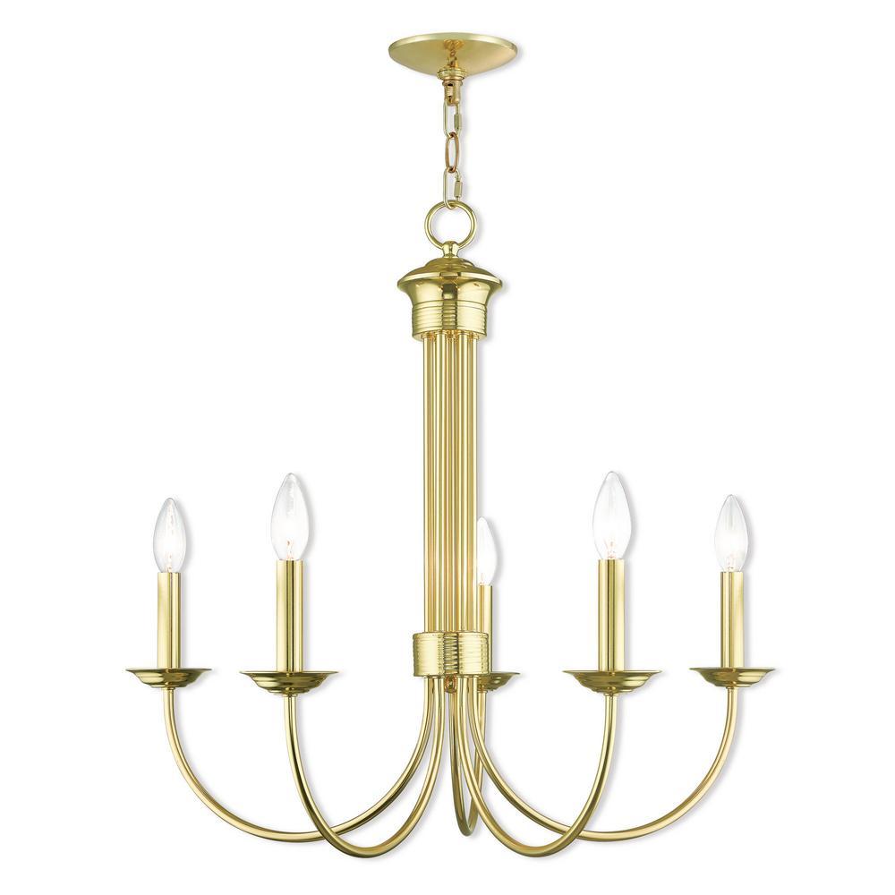 Estate 5 Light Polished Brass Chandelier