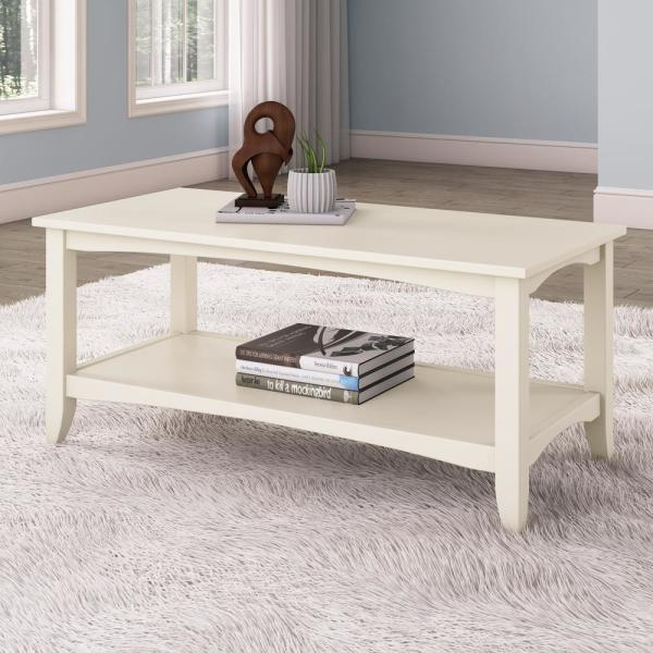 CorLiving Cambridge Antique White 2-Tiered Coffee Table LXY-012-T
