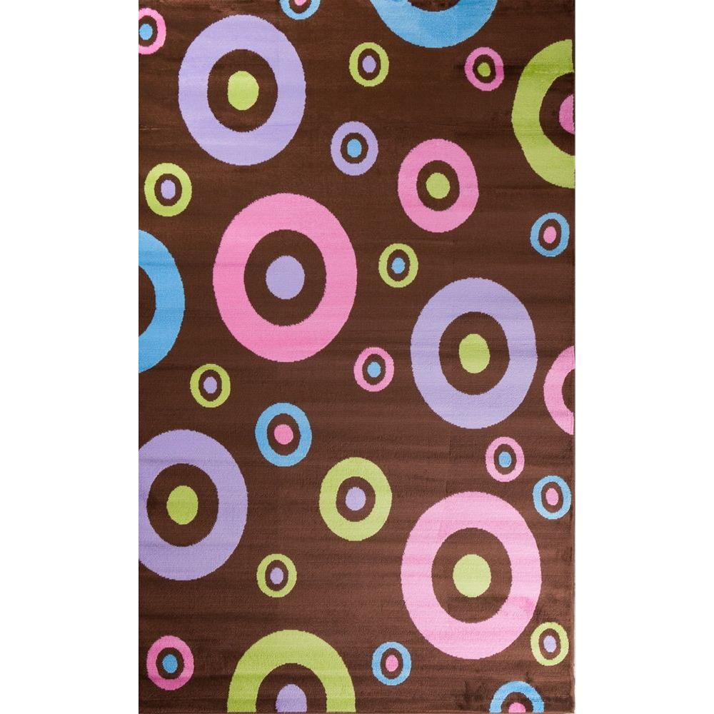 Concord Global Trading Alisa Dots in Dots Brown 3 ft. 4 in. x 5 ft. Area Rug