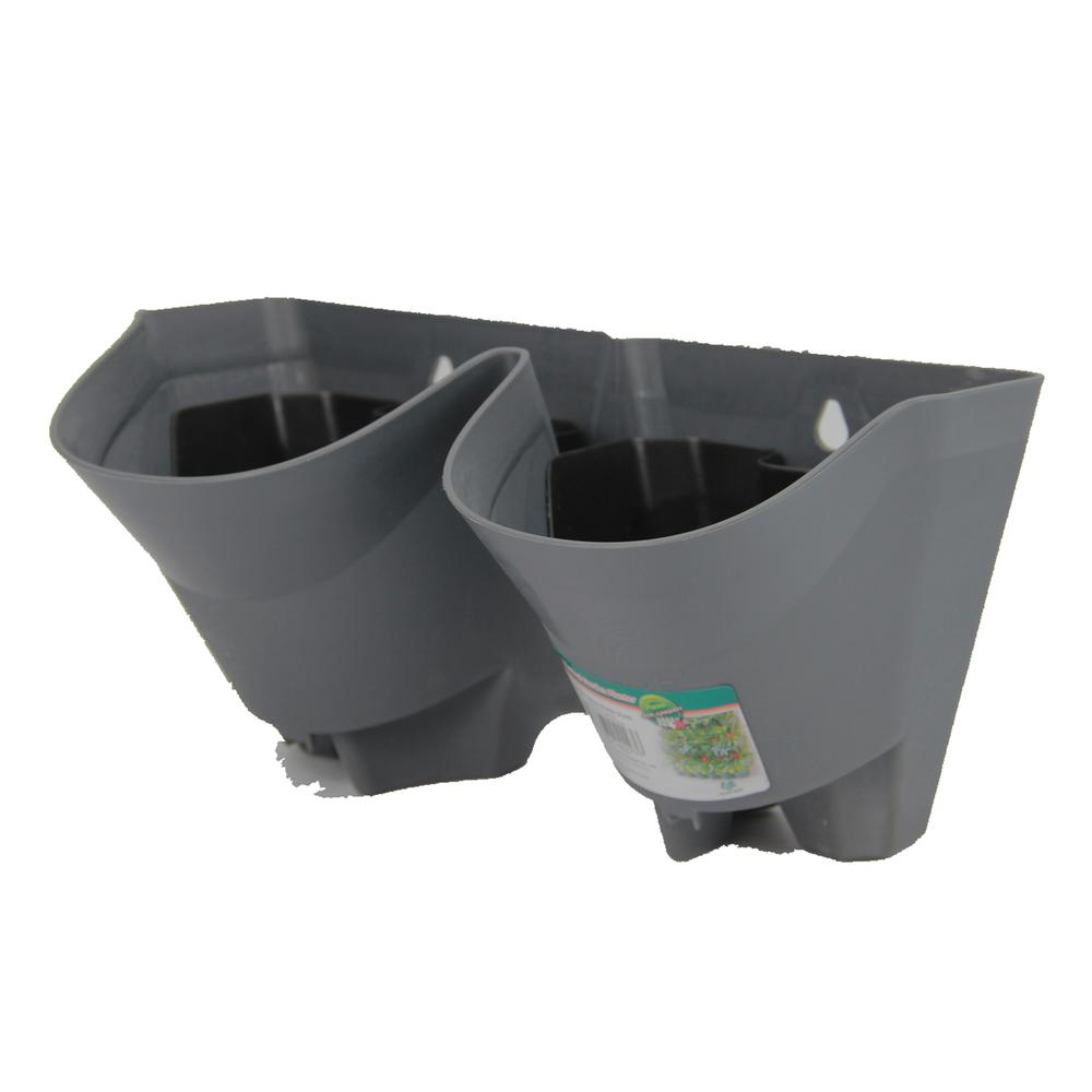 Worth Garden 12 In. Grey Plastic Self Watering 2 Pockets Vertical Wall Garden  Planters
