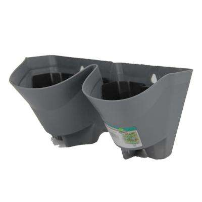 12 in. Grey Plastic Self-Watering 2 Pockets Vertical Wall Garden Planters