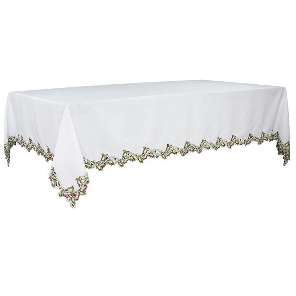 Xia Home Fashions 108 In X 70 In Holiday Holly Embroidered Cutwork Tablecloth In White Xd1479170108w The Home Depot