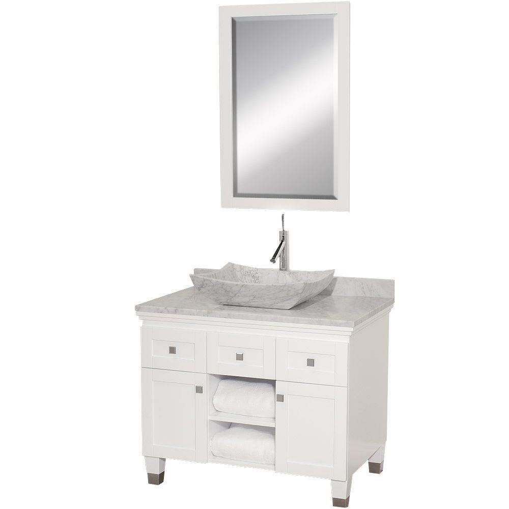 Wyndham Collection Premiere 36 in. Vanity in White with Marble Vanity Top in Carrara White with Sink and Mirror