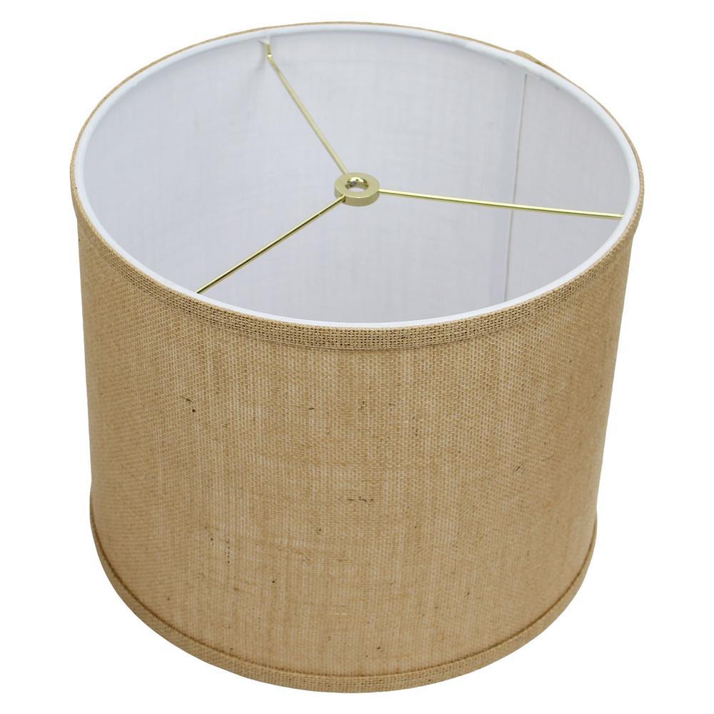 FenchelShades.com 12 in. Top Diameter x 10 in. H x 12 in. Bottom Diameter Burlap Natural Drum Lamp Shade