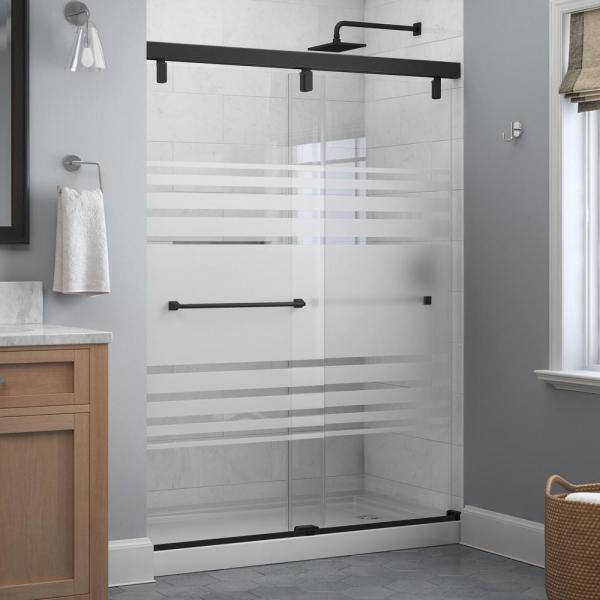 Everly 60 x 71-1/2 in. Frameless Mod Soft-Close Sliding Shower Door in Matte Black with 1/4 in. (6 mm) Transition Glass