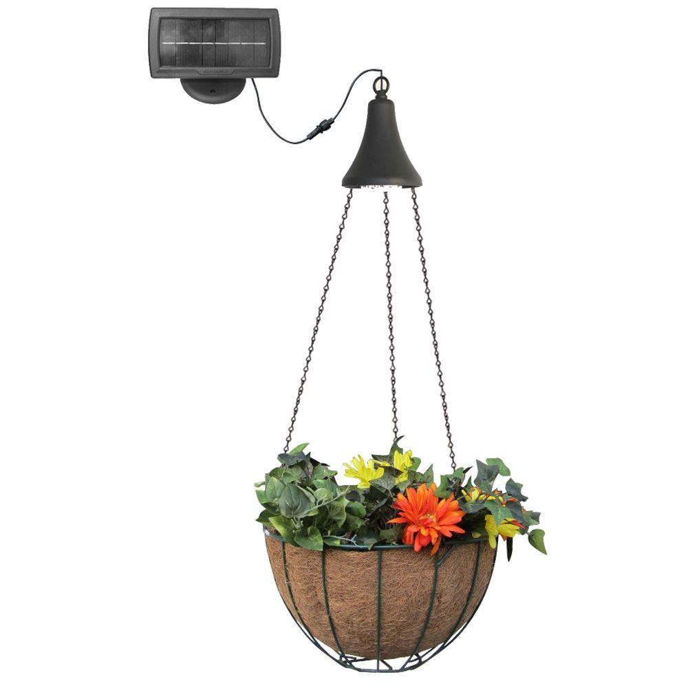 Solar Powered Black Integrated LED Hanging Spotlight with Hanging Planter Basket
