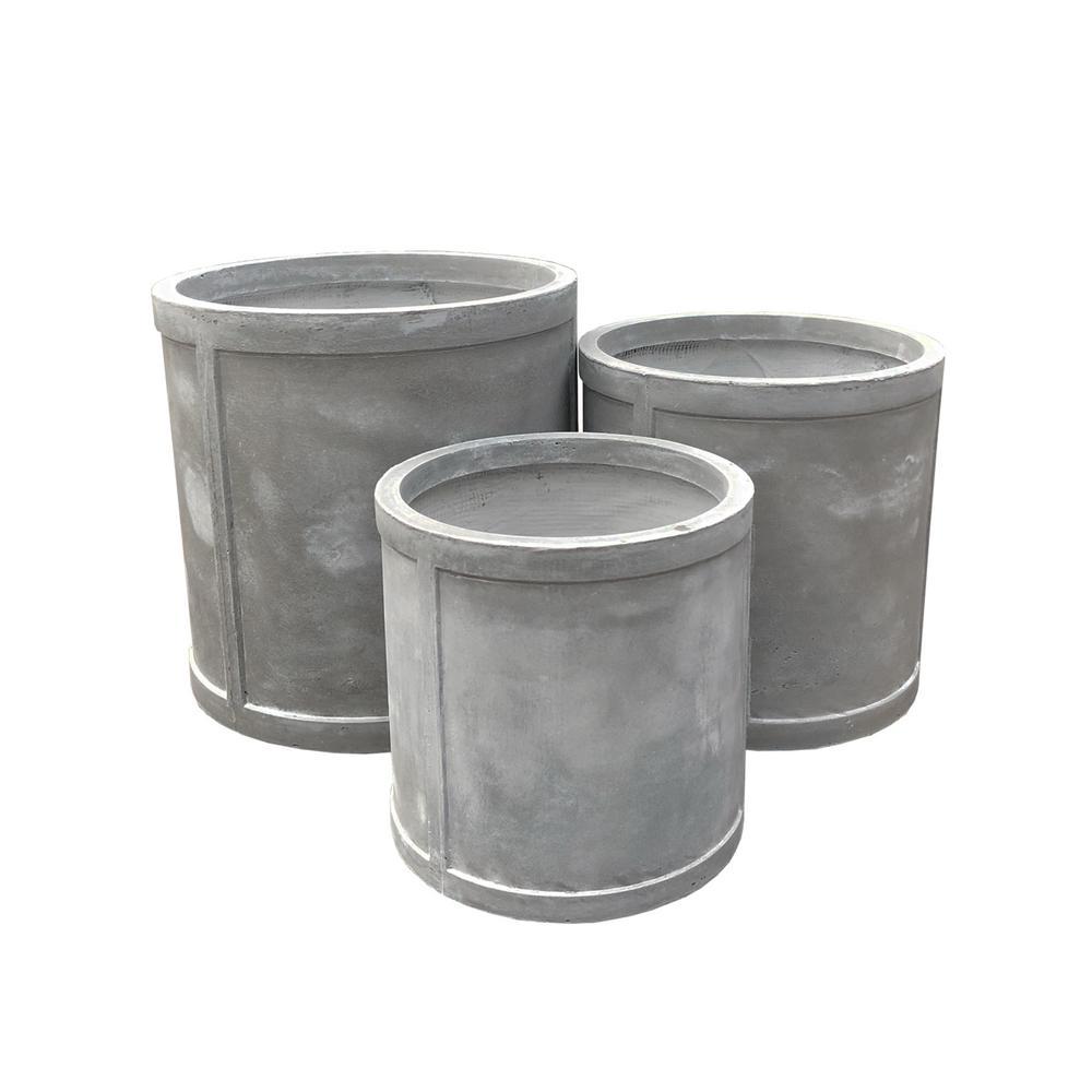 Lightweight Concrete Drum Light Grey Planter (Set of 3)