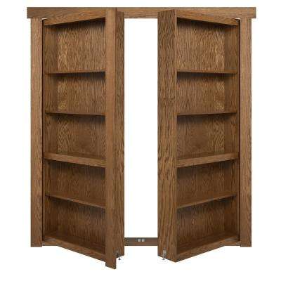 72 in. x 80 in. Flush Mount Assembled Oak Medium Brown Stained Universal Solid Core Interior French Bookcase Door