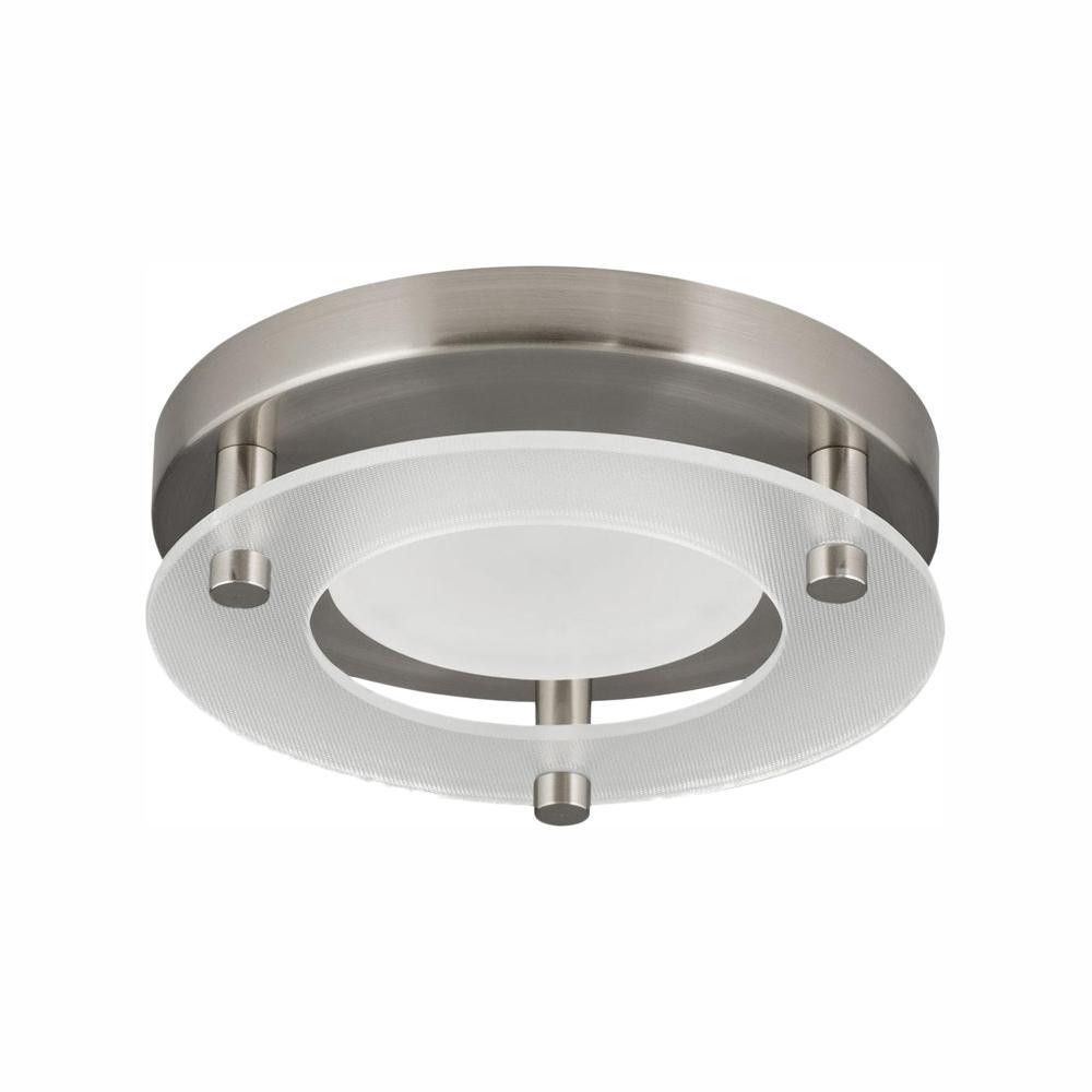 5.5 in. Flush Mount Collection 10.5-Watt Brushed Nickel Integrated LED Flush Mount