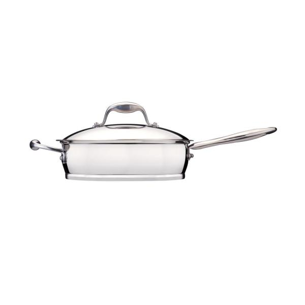 BergHOFF Essentials 2.6 Qt. Stainless Steel Covered Deep Skillet