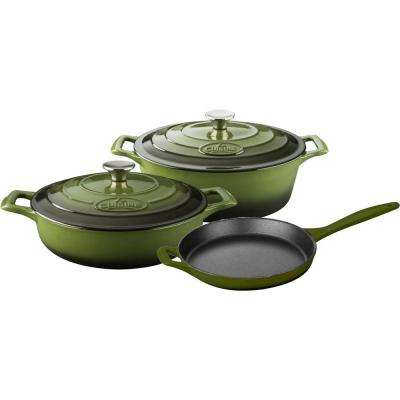 5-Piece Enameled Cast Iron Cookware Set with Saute, Skillet and Oval Casserole in Green