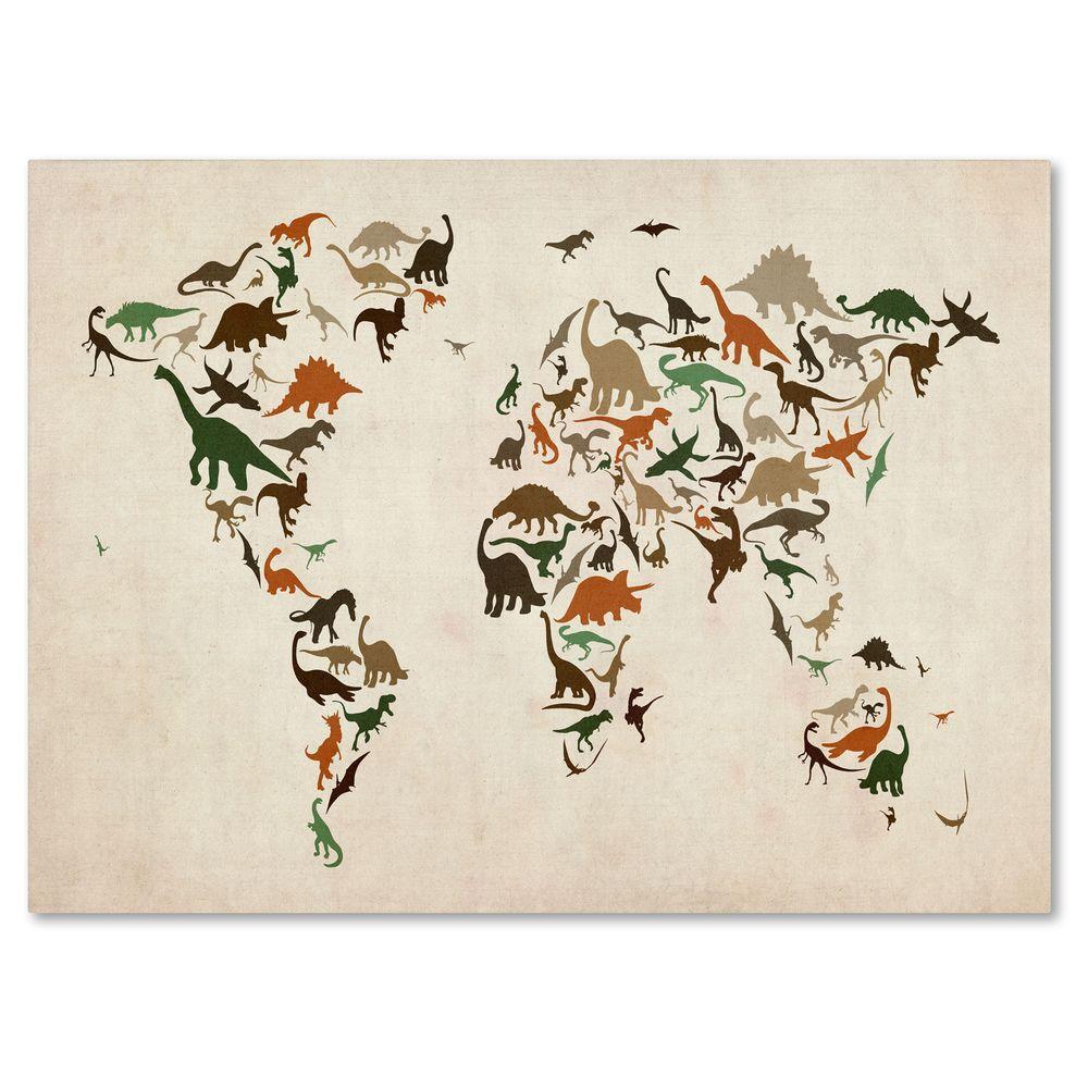 22 in. x 32 in. Dinosaur World Map 2 Canvas Art