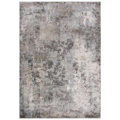 Venice Silver/Cream 6 ft. 7 in. x 9 ft. 6 in. Abstract Area Rug