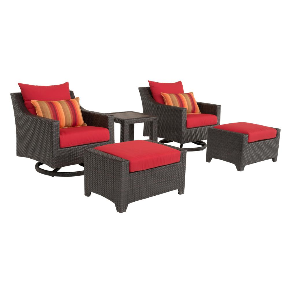 Deco 5-Piece All-Weather Wicker Patio Deluxe Motion Club Chair and Ottoman