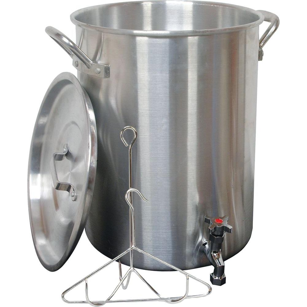 King Kooker 30 Qt. Aluminum Turkey Pot with Spigot Lid Lifting Rack and Hook