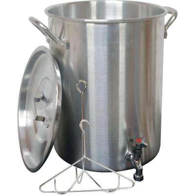 30 Qt. Aluminum Turkey Pot with Spigot Lid Lifting Rack and Hook