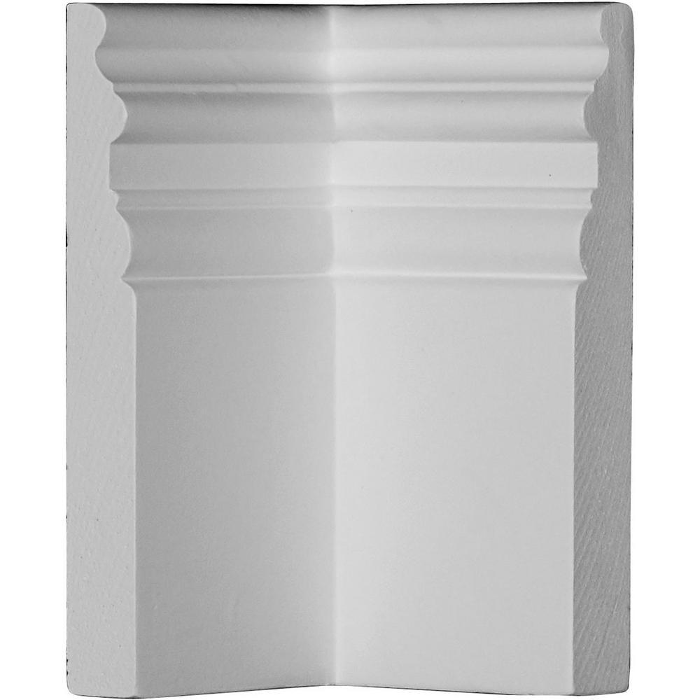 4-3/8 in. x 7-3/8 in. x 7-3/8 in. Polyurethane Hillsborough Baseboard Inside Corner Moulding