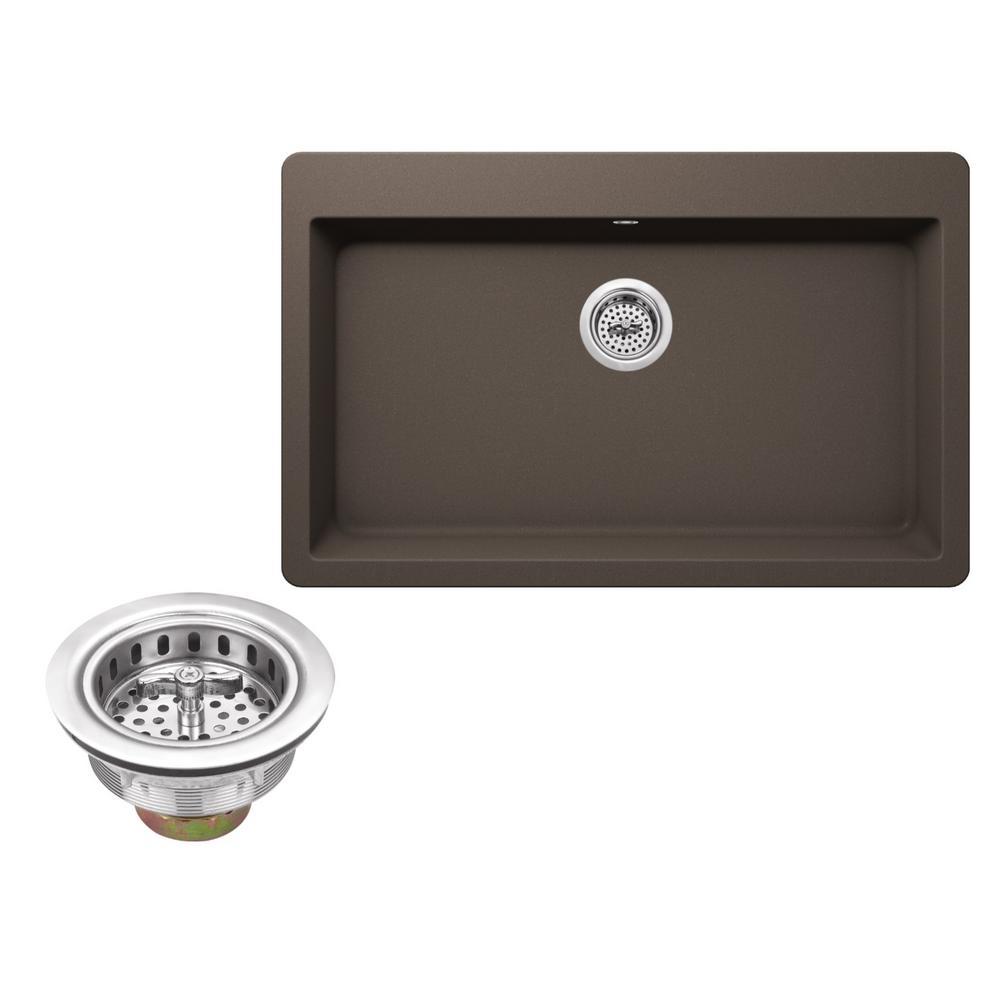 Drop-In Granite Composite 33 in. 3-Hole Single Bowl Kitchen Sink in Mocha Brown