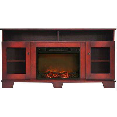 Glenwood 59 in. Electric Fireplace in Cherry with Entertainment Stand and Charred Log Display