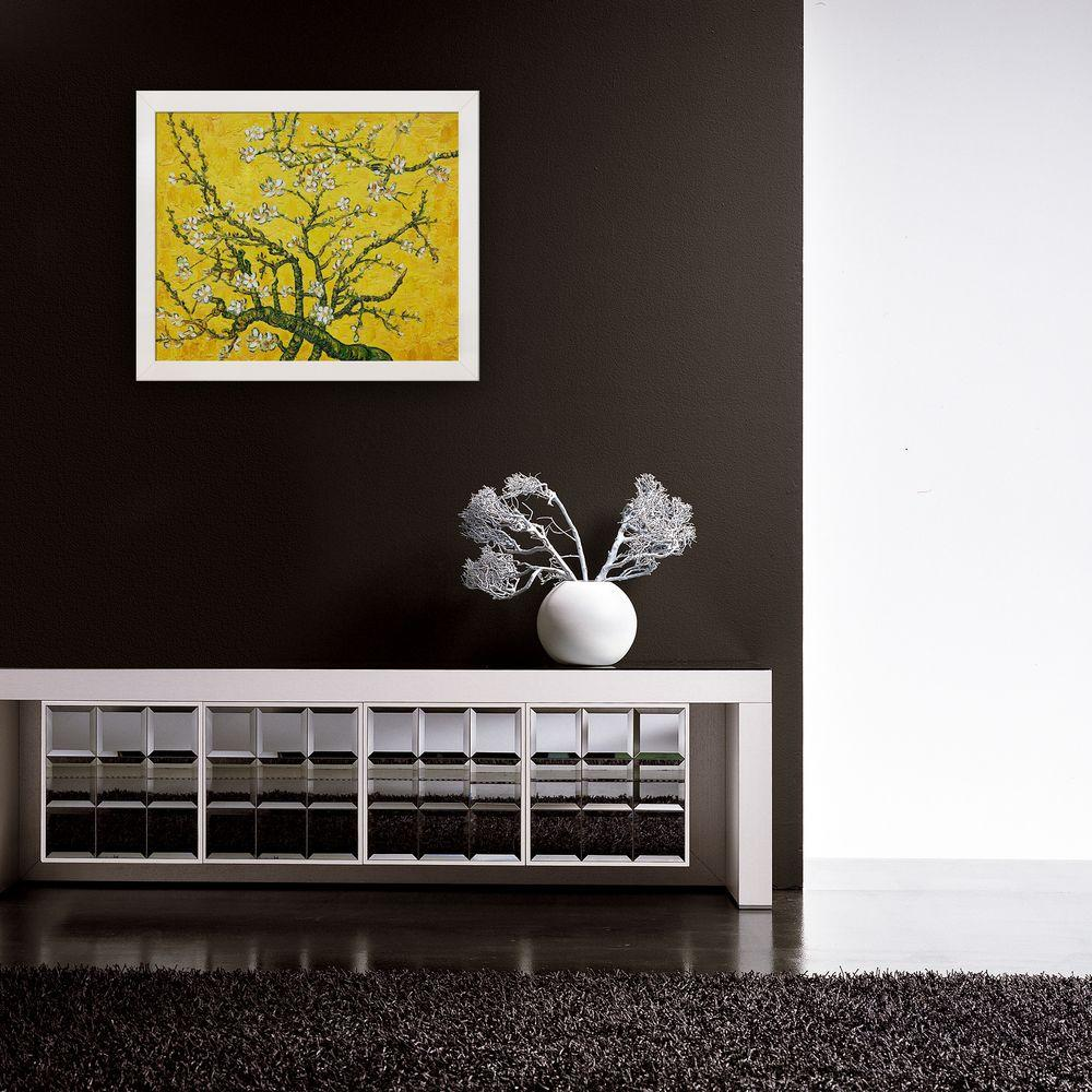 null 20 in. x 24 in. Branches of an Almond Tree In Blossom Artist (Interpretation in Yellow) Hand-Painted Framed Oil Painting